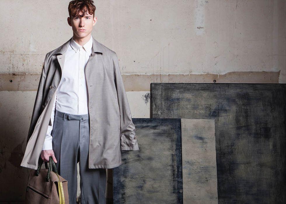 Coat, $2,795, by Loro Piana at Neiman Marcus; shirt  by Maison Margiela, at Neiman Marcus and Saks Fifth Avenue; pants, $695, by Zegna at Saks Fifth Avenue; duffle, $4,300, by Bottega Veneta