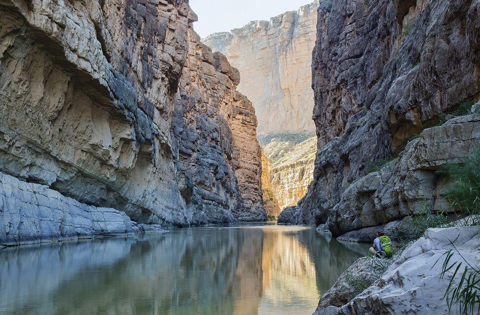 The Rio Grande River runs through Santa Elena Canyon
