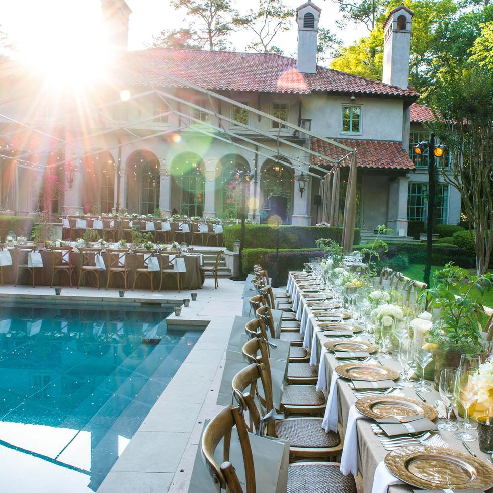 Poolside Delicious Alchemy Banquet seating at Holthouse home