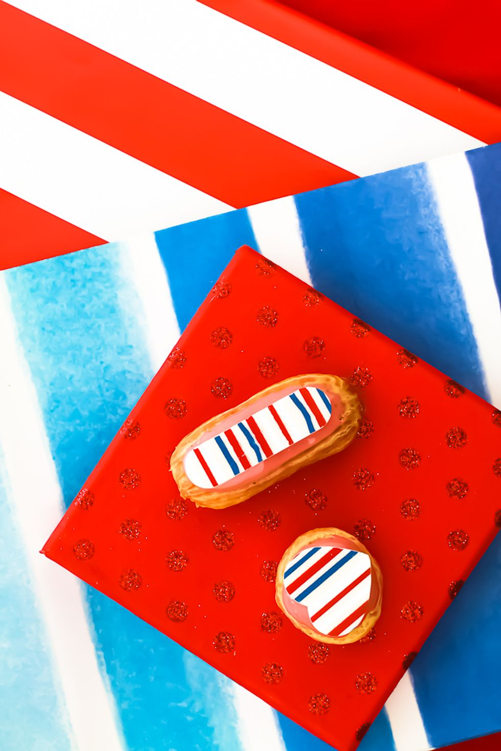 red, white and blue eclair