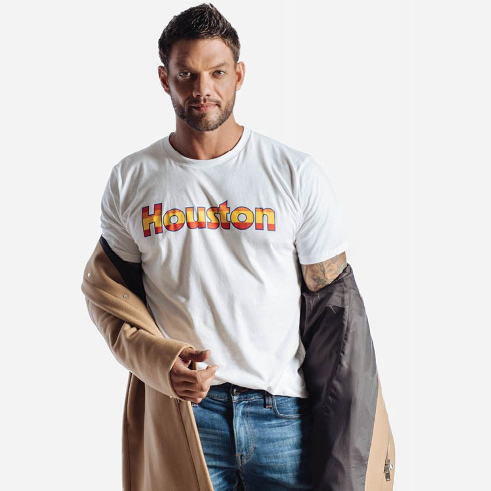 Houston tee, $28 at Manready Mercantile; jeans, $205, by Hudson, and jacket, $765,  by Theory, both at Neiman Marcus.